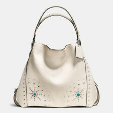 NWT Coach 57110 Western Rivets Edie 42 in Glovetanned Leather Chalk/Silver $650