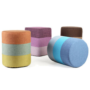 35cm height Solid Wood Foot Stool Home Sofa Stool Fabric Round Seat Bench Decor