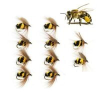 10pcs*Artificial Insect Hook Bait Bumble Bee/Ant Tackle Fly Trout Fishing Lures