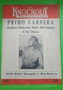 """The Knockout"" Boxing Program: 1952. Primo Carnera, Hombre Montana."