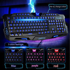 LED 3 Color Backlit Adjustable Brightness Gaming Keyboard Mouse Combo Suit