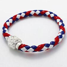 Fashion Leather Wrap Wristband Cuff Punk Magnetic Rhinestone Buckle Bracelet