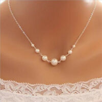 Women Sliver Simple White 7 Fixed Pearl Bead One Layer Chain Necklace Pendants