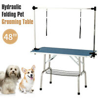 """48"""" Portable Folding Dog Cat Pet Grooming Table Adjustable Arm Noose Mesh Tray"""