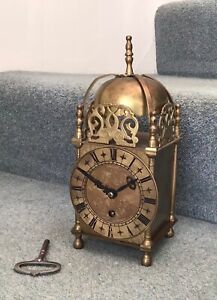 """Smiths Large Brass Lantern Clock 10"""" tall with Lever Movement in Working Order"""