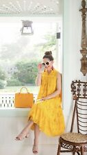 100%  Authentic Kate Spade Yellow Eyelet  Embroidered Patio Midi Dress $478