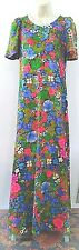 Vtg 60's HAWAIIAN MAXI LONG DRESS Handmade Floral Empire Waist Flutter slv S/M