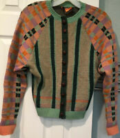 Vintage Betsey Johnson Alley Cat Wool Cardigan Sweater Sz 11/12 Striped Checked