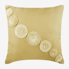 Euro Pillow Sham Decorative 26x26 inch Beige Silk, Ribbon - Fantasy Flowers