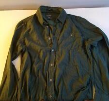 Woolrich Men's Small Buttondown Shirt Herringbone Green/Blue