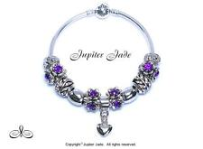 Authentic Pandora Silver Bangle Charm Bracelet European Charms Purple Bellflower