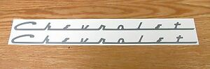 1955 56 1957 58 59 CHEVY VALVE COVER CHEVROLET MYLAR DECALS  SILVER * USA MADE *