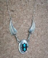 vintage Sterling Silver feather necklace Turquoise  Native American Navajo