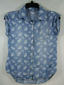 >> Gilrs Epic Threads Size Medium Blue & White Floral Button-Front Top