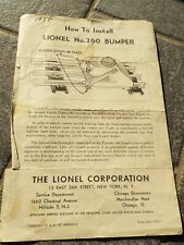 Vintage 1951 LIONEL Electric Trains No 260 Bumper Install Instructions