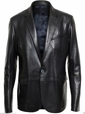 Men's Genuine soft Lambskin Slim Fit Black Leather Blazer Jacket Coat