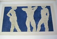 Arline Sherman 3 Nudes Abstract Expressionist Embossed Print 32x17 Trio Tevo