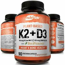 ☀ Vitamin K2 (MK7) with D3 5000 IU Supplement with BioPerine, 90 Veggie Capsules