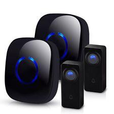 500ft Waterproof Digital Doorbell Wireless Door Bell Chime 2 Receivers 2 Buttons
