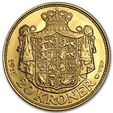 1913-1917 Denmark Gold 20 Kroner Christian X Bu - Sku #90044