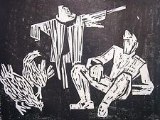 Carl Bieri 1894-1962 Bern / Holzschnitt Handdruck Vogelscheuche Hühner / um 1950
