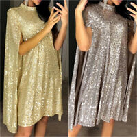 Ladies Glitter Sequin Mini Shift Dress Cape Sleeve Cocktail Evening Party Gown