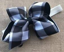 Black & White Buffalo Check Plaid Bow Headband