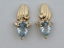 Natural Aquamarine with Natural Diamond Cluster Earrings Solid 14kt Yellow Gold