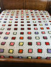 """Vintage Granny Square White Afghan Raised 3D Roses Queen Size 84"""" X 94"""""""