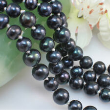 120 cm Natural Black Round Freshwater Pearl Great Gatsby Long Pearl Necklace