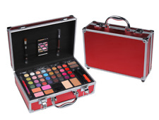 CAMEO RED METALLIC CARRY ALL EYESHADOW LIP FACE  MAKEUP TRAIN COSMETIC CASE KIT