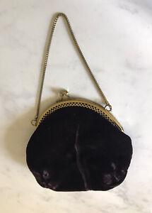 Velvet Evening Bag Deep Aubergine Purple Gold Clasp Chain Handle Party Prom