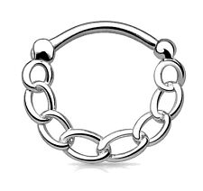 16g (1.2mm) 316L Surgical Steel Septum Nose Ear Ring Clicker with Linked Chain