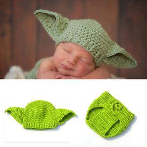 Newborn Baby Crochet Knit Costume Star Wars Yoda Beanies Hat Infant Photo Props
