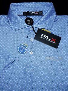 NEW! RLX RALPH LAUREN GOLF POLO SHIRT -S- BLUE WHITE PAISLEY DOT -STRETCH POLY