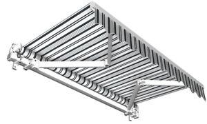 Sonnenschutz Balkonmarkise Markise Gelenkarmmarkise Balkon grau weiss 250x150 cm