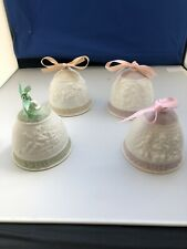 Vintage Lladro Christmas Bell Ornaments Total 4