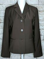 Talbots Womens 3 Button Front Blazer Wool Blend Brown Long Sleeve Lined 10 Gift