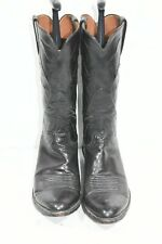 LUCCHESE MENS 11 B BLACK LEATHER CLASSIC ROUND TOE CLASSIC WESTERN COWBOY BOOTS