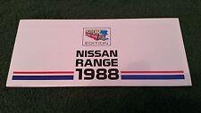 Aug 1988 Nissan RANGE Micra Sunny Bluebird Laurel Silvia 300ZX Turbo UK BROCHURE