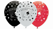 6 x Casino Night Poker Night Balloons red white black Playing Card Decorations
