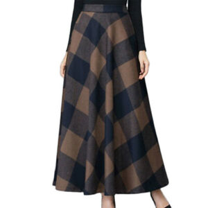 Women Plaid/Floral Long Swing Skirt Casual Loose A-Line Maxi Dress Ladies Party