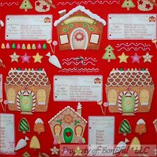 BonEful FABRIC FQ Cotton Quilt Red White Green Xmas Tree GingerBread Candy House