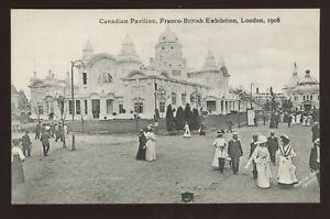 London FRANCO British Exhibition scene outside Canadian Pavilion 1908 PPC
