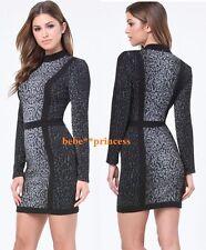 $159 Nwt bebe black leopard print long sleeve mock neck top dress Xxs X Xs 00 0