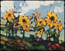 HAWKINS Floral Yellow Flowers Sunflower Impressionism Landscape Oil Painting Art