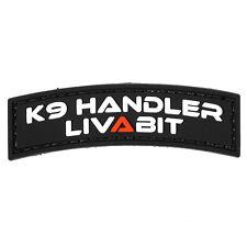 PVC Morale Patch Black K9 Handler LIVABIT 3D Badge Hook #33 Airsoft