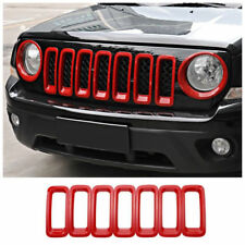 Red ABS Front Grill Grille Insert Frame Cover Trim For 2011-2017 Jeep Patriot