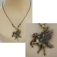 Pegasus Necklace Gold Pendant Jewelry Handmade NEW Chain Winged Horse Women