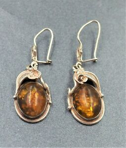 Amber Earrings  - Handmade Sterling Silver 925 For Pierced Ears Navajo Style